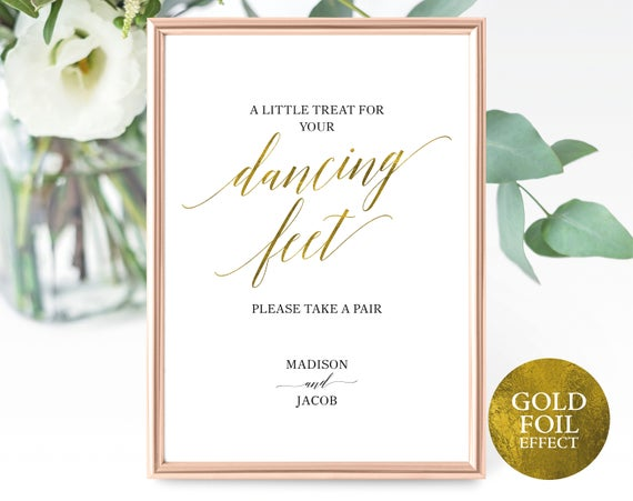 Faux Gold Dancing Feet Sign Template, A Little Treat for Your Dancing Feet, Printable Wedding Dancing Sign, PDF Instant Download, MM07-3