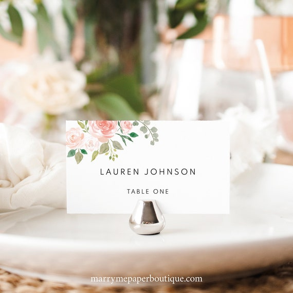 Place Card Template, Blush Floral, TRY BEFORE You BUY,  Editable Instant Download