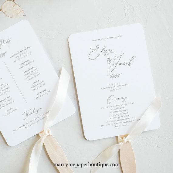 Wedding Program Fan Template, FREE Demo Available, Editable Instant Download, Elegant Font