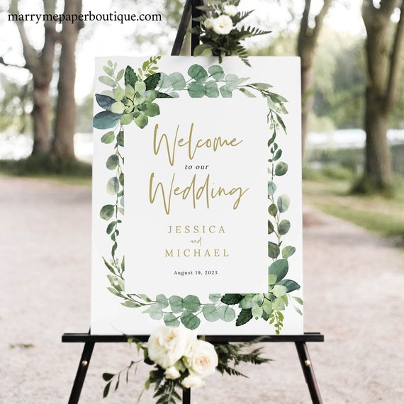 Wedding Welcome Sign Template, Lush Greenery, Garden Wedding Sign, Printable, Templett INSTANT Download, Editable
