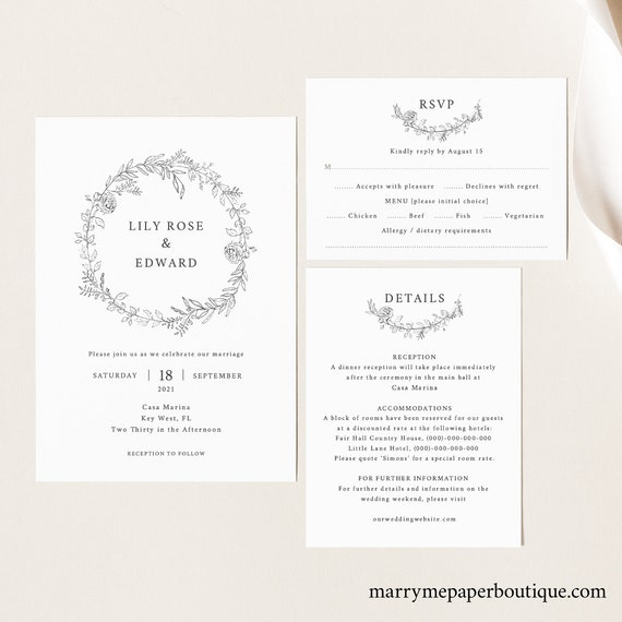 Wedding Invitation Set Template, TRY BEFORE You BUY, Elegant Invite Printable, Editable Instant Download