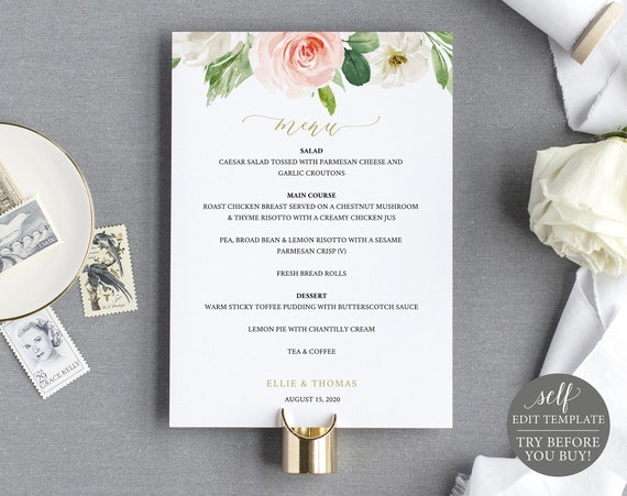 Wedding Menu Template, TRY BEFORE You BUY, Editable, Blush Floral, Instant Download, 5x7