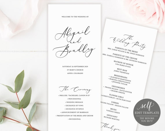 Wedding Program Template, TRY BEFORE You BUY, Printable Order of Service, Instant Download, 100% Editable, 3.5x8.5, Ceremony Program