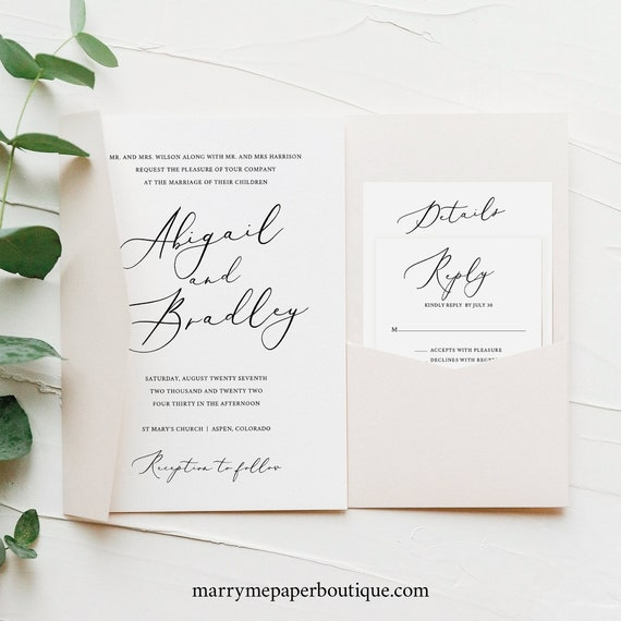 Wedding Invitation Template Set, Elegant Script, Editable & Printable Instant Download, Pocket Style, Try Before Purchase