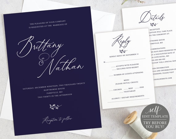 Navy Wedding Invitation Set Template, 100% Editable Invitation Printable, TRY BEFORE You BUY, Instant Download