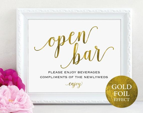 Gold Open Bar Sign, Printable Wedding Reception Sign, Wedding Reception Bar Sign, Wedding Bar Sign, PDF Instant Download, MM01-3