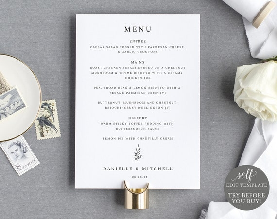 Wedding Menu Template 5x7, TRY BEFORE You BUY, Fully Editable Instant Download, Formal Botanical