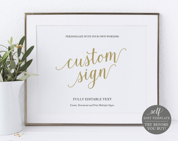 Create MULTIPLE Signs Template, Modern Script Gold, Editable & Printable Instant Download, Templett, TRY BEFORE You Buy