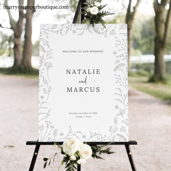 Winter Wedding Welcome Sign Template, Printable Wedding Sign, Botanical, INSTANT Download, Templett Editable