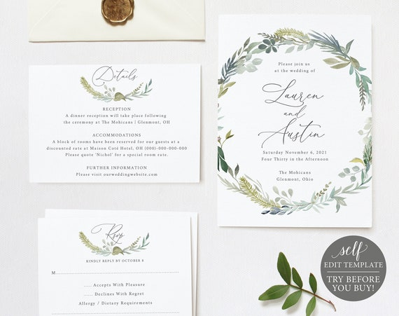 Wedding Invitation Set Templates, TRY BEFORE You BUY, 100% Editable Instant Download, Greenery & Blue