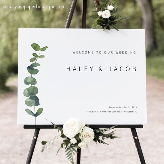 Wedding Welcome Sign Template, Elegant Eucalyptus, Printable Wedding Sign, Editable Sign, Greenery, Templett INSTANT Download