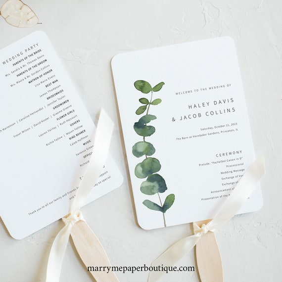 Wedding Program Fan Template, Elegant Eucalyptus, Wedding Fan Program Printable, Wedding Ceremony, Templett INSTANT Download, Editable