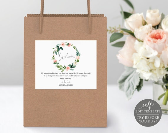 Welcome Bag Label Template, TRY BEFORE You BUY, Editable Instant Download, Floral Greenery