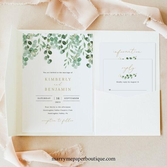 Wedding Invitation Template Set, Garden Greenery, Pocket Fold, Invite Set Printable, Templett, Editable, INSTANT Download