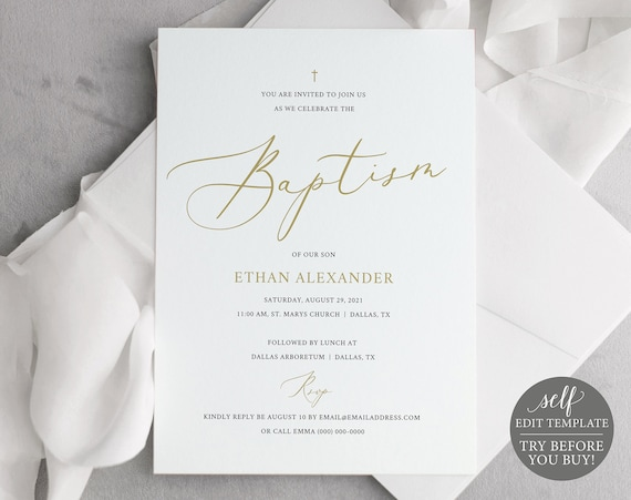 Baptism Invitation Template, Free Demo Available, 5x7 Elegant Gold, Editable Instant Download