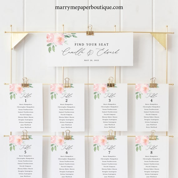 Wedding Seating Chart Cards Template, Elegant Blush Floral, Try Before Purchase, Editable & Printable Instant Download