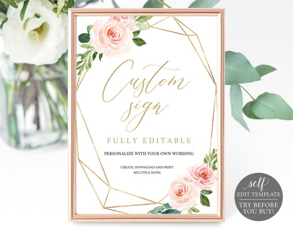 Create MULTIPLE Wedding Signs Template, Instant Download, Editable, Blush Floral, Try Before You Buy