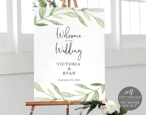 Wedding Welcome Sign Template, Self-Edit Instant Download, TRY BEFORE You BUY, Greenery Leaves