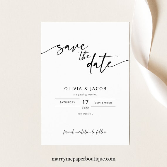 Save the Date Template, Try Before Purchase, Templett Instant Download, Editable & Printable, Modern Calligraphy