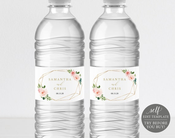 Water Bottle Label Template, Blush Floral Geometric, TRY BEFORE You BUY, Editable Instant Download