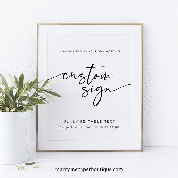 Create Multiple Signs Template, Modern Calligraphy, Templett Instant Download, Editable & Printable, Try Before You Buy