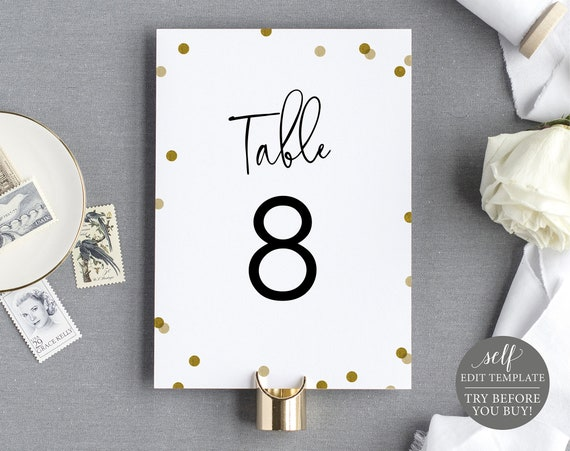 Table Number Sign Template, Editable & Printable Instant Download, Demo Available, Gold Confetti