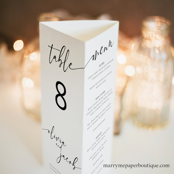 Wedding Table Number Template, Trifold, Wedding Menu Template, Modern Calligraphy, Printable, Fully Editable, Templett INSTANT Download