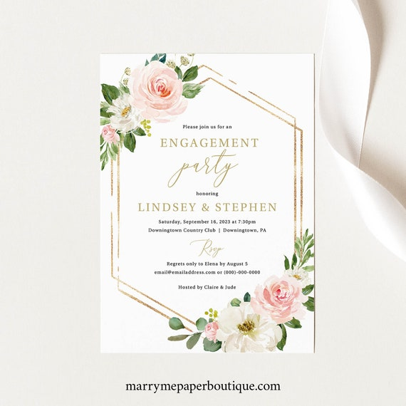 Engagement Party Invite Template, TRY BEFORE You BUY, Editable Instant Download, Blush Floral Hexagonal