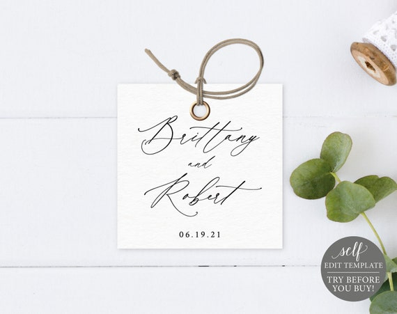 Square Tag Label Template, TRY BEFORE You BUY, Editable Instant Download, Stylish Script