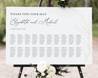 Wedding Seating Chart Template, Botanic Calligraphy, Seating Plan Sign, Printable, Editable Poster, Gold Leaf, Templett INSTANT Download