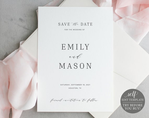 Save the Date Template, Elegant, 100% Editable Instant Download, TRY BEFORE You BUY