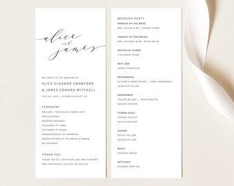 Elegant Wedding Program Template, Modern Program Printable, Templett Editable, Instant Download