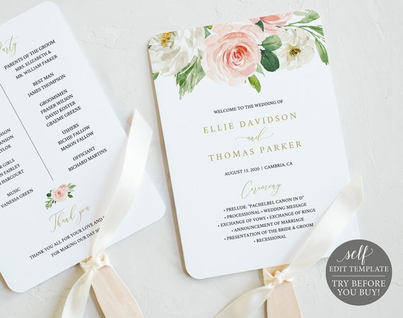 Wedding Program Fan Template, TRY BEFORE You BUY, Blush Floral, Editable Instant Download