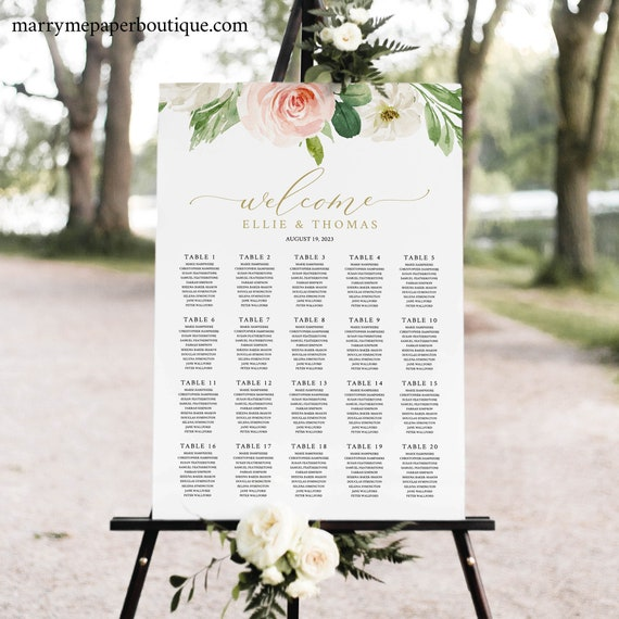 Seating Chart Template, TRY BEFORE You BUY, Editable Blush Floral Wedding Chart, Instant Download