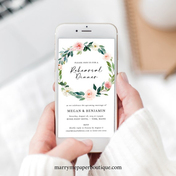 Rehearsal Dinner Text Invitation Template, Blush Floral Greenery, Digital Rehearsal Invite, Electronic, Editable, Templett INSTANT Download