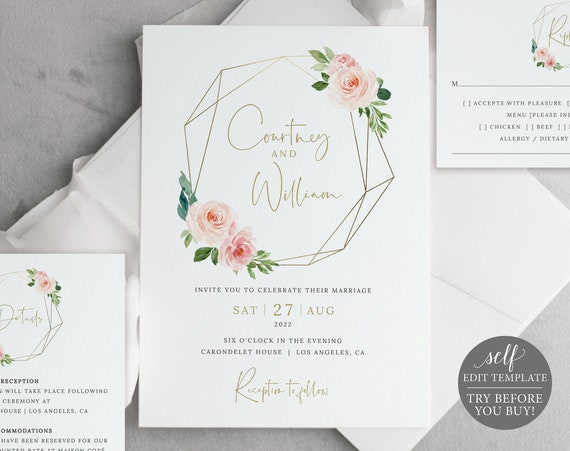 Wedding Invitation Template Suite, Blush Pink Geometric, Demo Available, Order Edit & Download In Minutes
