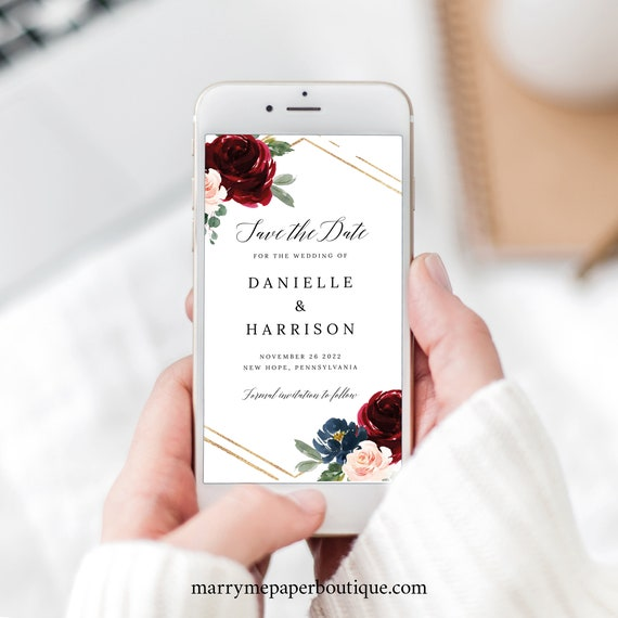 Save the Date Text Invitation Template, Burgundy Navy, Electronic Invite Text, Editable, Templett INSTANT Download