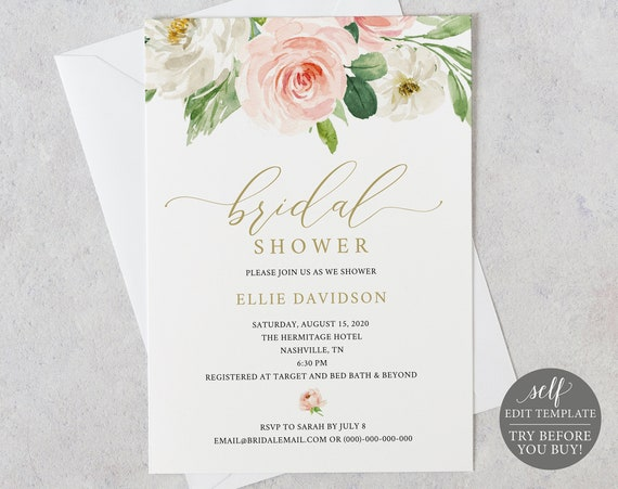 Bridal Shower Invitation Template, TRY BEFORE You BUY, Instant Download, 100% Editable Invite, Blush and Gold Floral Invitation Printable