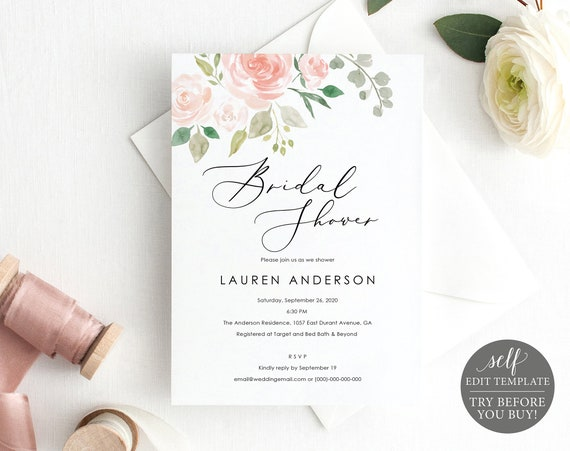Bridal Shower Invitation Template, TRY BEFORE You Buy, Wedding Shower Invite Printable, 100% Editable, Instant Download, Pink & Blush Floral