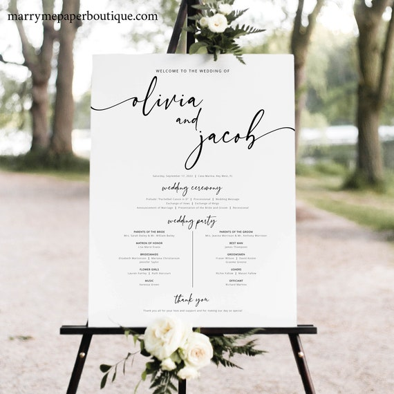 Wedding Program Sign Template, Modern Calligraphy, Timeline Sign, Order of Events Sign, Printable, Editable, Templett INSTANT Download
