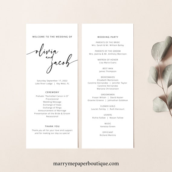 Wedding Program Template, Modern Calligraphy, Instant Download, Templett Demo Available, Editable & Printable
