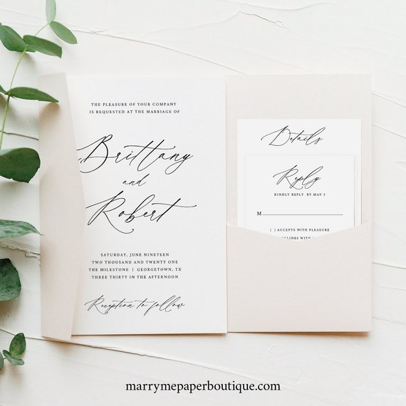 Wedding Invitation Template Set Pocket Style, Stylish Script, Instant Download, Editable & Printable, Try Before You Buy