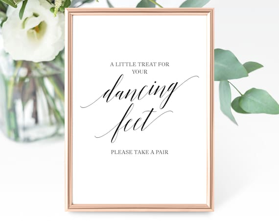 Dancing Feet Sign Template, A Little Treat for Your Dancing Feet, Printable Wedding Dancing Feet Sign, PDF Instant Download, MM07-1B