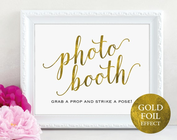 Gold Photo Booth Sign, Photo Booth Sign Printable, Wedding Printable, Wedding Sign, Grab a Prop Strike a Pose, PDF Instant Download, MM01-3