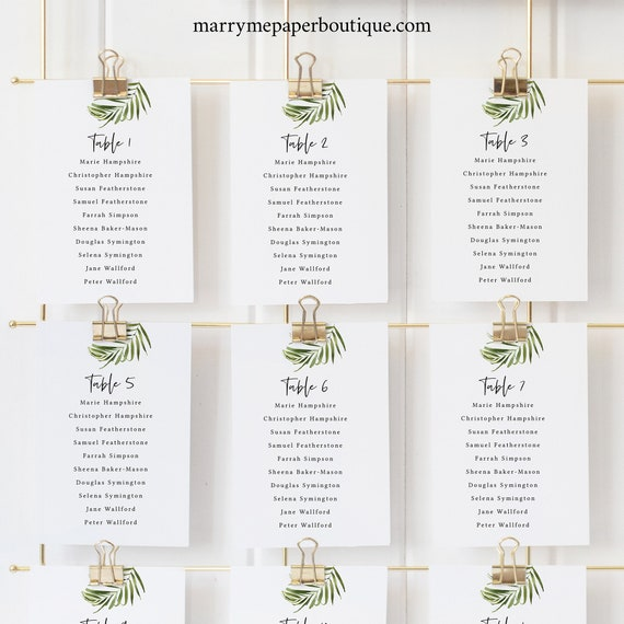 Tropical Wedding Seating Cards Template, Beach Wedding, Greenery Seating Chart Cards, Templett Printable, Instant Download