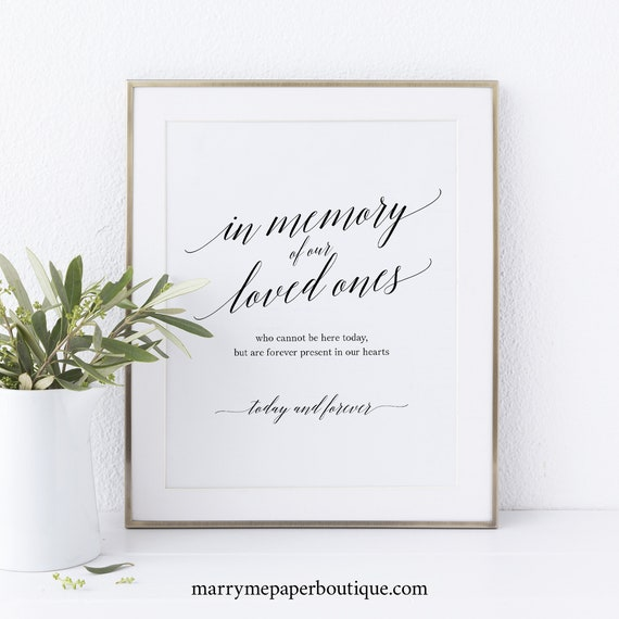In Memory Sign Template, Forever in Our Hearts, Wedding Memorial Sign, Printable In Memory Sign, Instant Download, MM07-1B