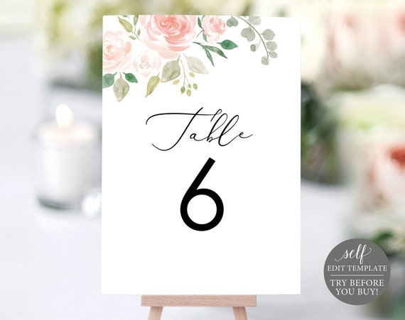 Floral Wedding Table Numbers, Table Number Template, Printable Table Numbers, Wedding Printable, Calligraphy, Instant Download