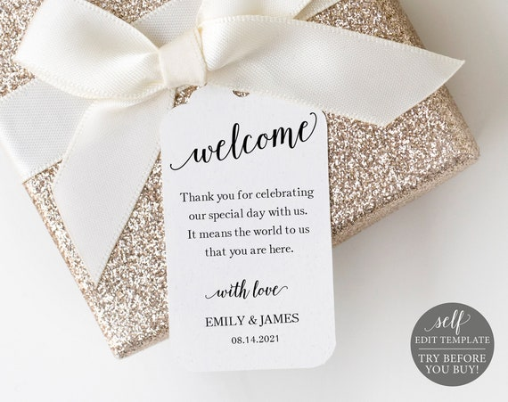 Wedding Favor Tag Template, 100% Editable Instant Download, Modern Script, TRY BEFORE You BUY