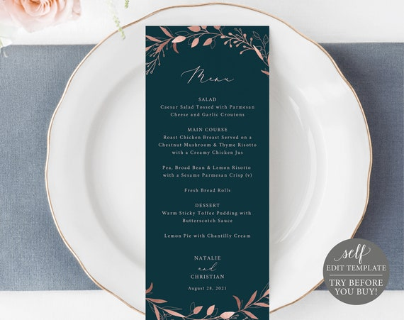 Wedding Menu Template, Rose Gold Navy, Fully Editable Instant Download, TRY BEFORE You BUY