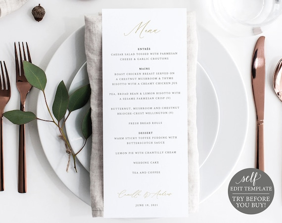Wedding Menu Template, Demo Available, Printable Editable Instant Download, Stylish Gold Script